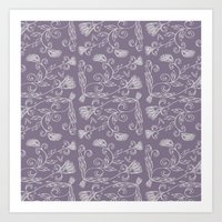 Ornate Pattern, Lavender & Silver Art Print