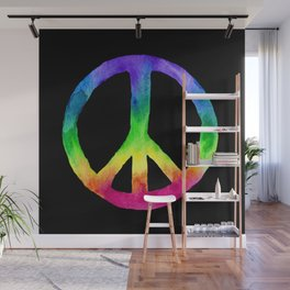 Rainbow Watercolor Peace Sign - Black Background Wall Mural