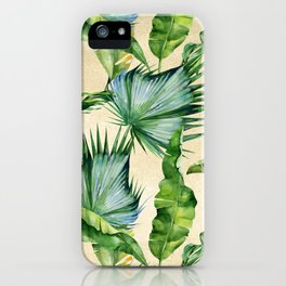 Green Tropics Leaves on Linen iPhone Case