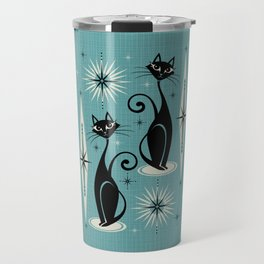 Mid Century Meow Retro Atomic Cats on Blue Travel Mug