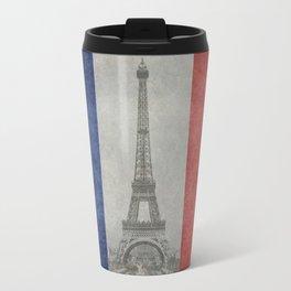 Flag of France with Eiffel Tower Vintage style Travel Mug
