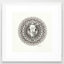 Feathered Skull Mandala Framed Art Print