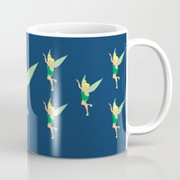 tinker bell Mugs featuring Tinker bell by Dewdroplet