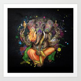 Colorful Ganesh Art Print
