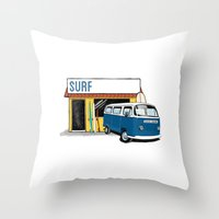 surf Throw Pillows featuring Surf by Blake Smisko