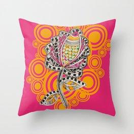 Madhubani - Fish Flower 1 Throw Pillow