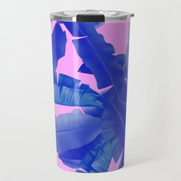 tropical banana leaves pattern,pink,blue Travel Mug