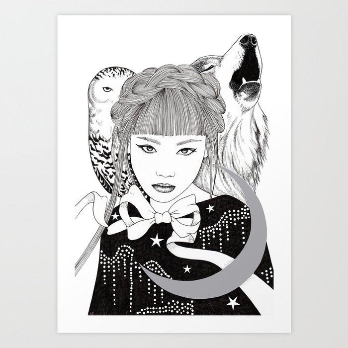 Silver Moon Art Print