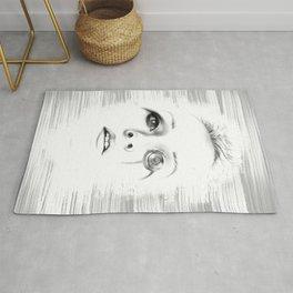 Sci-fi minimalist portrait of a woman digital painting Rug