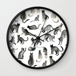 Watercolor Kitties Wall Clock