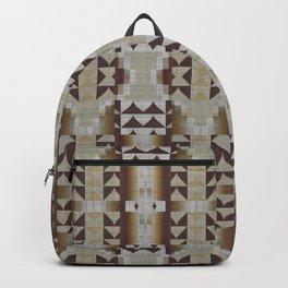 Khaki Beige Coffee Caramel Dark Brown Rustic Native American Indian Mosaic Pattern Backpack