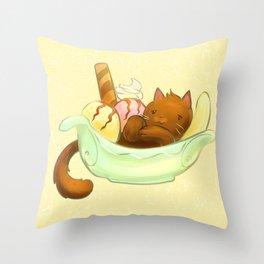 Banana split Cat Throw Pillow