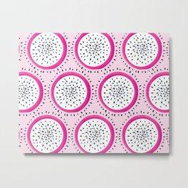 Dragon Fruit Pattern on Pink Metal Print