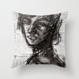 Mirror Soul - Charcoal on Newspaper Figure Drawing Throw Pillow