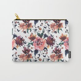Hand painted coral burgundy watercolor roses floral pattern Carry-All Pouch