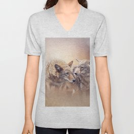 Two Young coyotes at sunset Unisex V-Neck