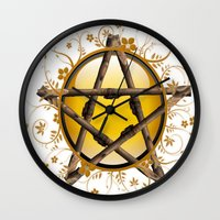 pentagram Wall Clocks featuring Flower Pentagram by The Painted Kat
