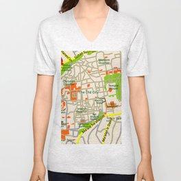 Jerusalem map design Unisex V-Neck