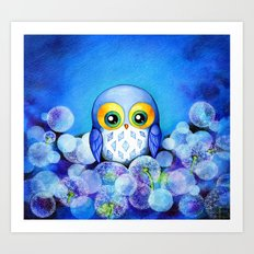 Lunar Owl in Dandelion Field Art Print
