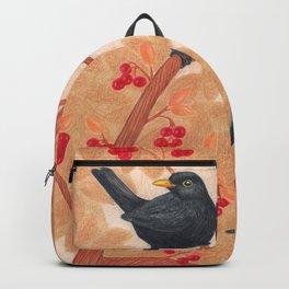 blackbirds in berry tree Backpack