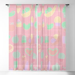 Sweet temptations, pink pastries, fruits and love Sheer Curtain
