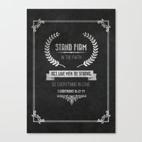 bible verses Canvas Prints featuring 1 Corinthians 16 verses 13 and 14 Typographic Bible Verse by Encouraging Verses UK