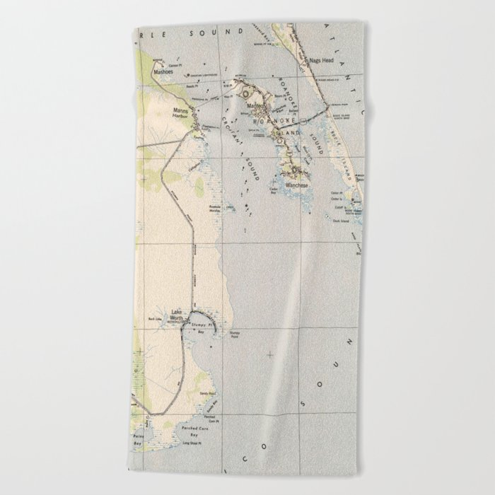 Vintage Map Of Roanoke Island Outer Banks Nc Beach Towel By