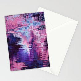 Violet Abstract Glitch effect Stationery Cards