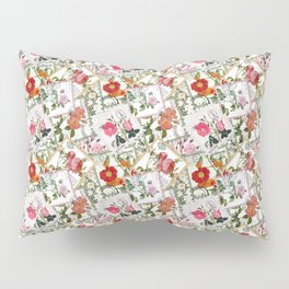 Vintage flowers on postage stamps Pillow Sham