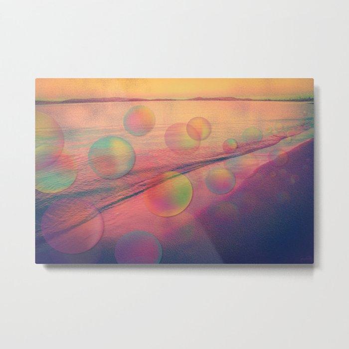 Colorful Summer Dream (California Beach in Rainbow Colors) Metal Print