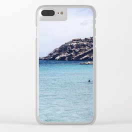 the blue bay Clear iPhone Case