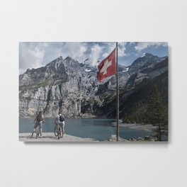 """Travel photography print """"Mountain bikers at the Oeschinensee"""" photo art made in Switzerland.  Metal Print"""