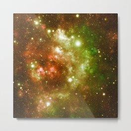 Golden Brown & Green Galaxy Nebula Metal Print
