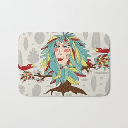 quirky bohemian boho tree, leaves and feather fantasy woman / girl Bath Mat