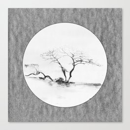 Scots Pine Paper Bag Grey Canvas Print