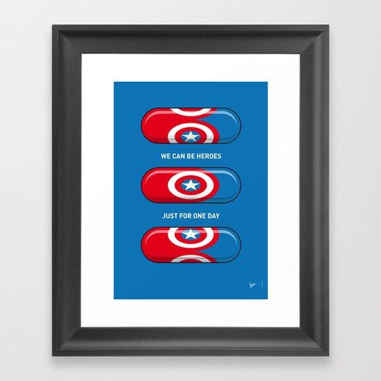 My SUPERHERO PILLS - America Captain Framed Art Print