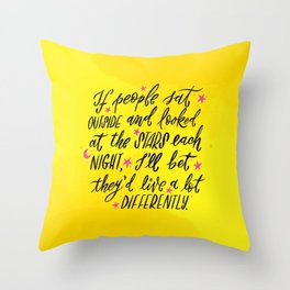 Look at the Stars - Yellow, Pink & Blue Throw Pillow