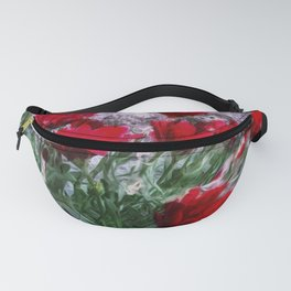 African Daisies Red With Wall Watercolor Fanny Pack