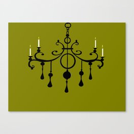A Chandler with Candles and a Green Background Canvas Print