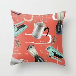 Fifties Kitchen Apricot Throw Pillow