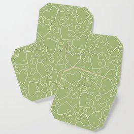 Hand Drawn Hearts Pattern Spring Green and White Coaster