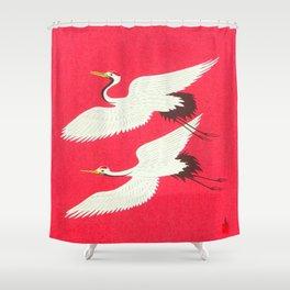 Tokuriki Tomikichiro Flying Cranes 1950s Japanese Woodblock Print Asian Historical Shower Curtain
