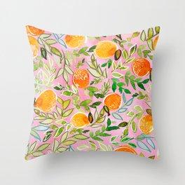 Pink Citrus Throw Pillow