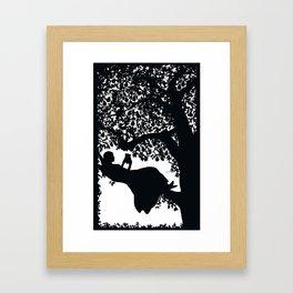 Girl in a pear tree Framed Art Print