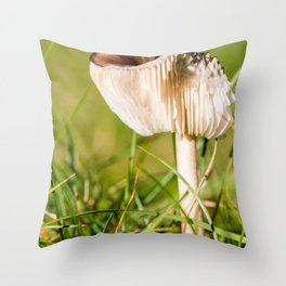 Brown mushroom in grass in autumn Throw Pillow