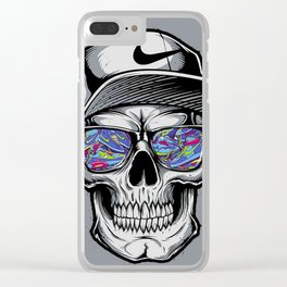 Skelete face sunglasses Clear iPhone Case