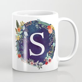 Personalized Monogram Initial Letter S Floral Wreath Artwork Coffee Mug