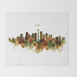 Seattle Watercolor Skyline Poster Throw Blanket
