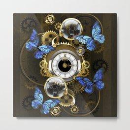Steampunk Gears and Blue Butterflies Metal Print