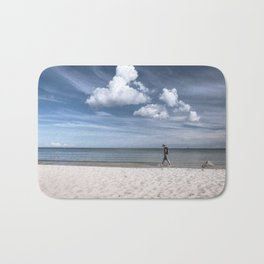 Lonely man at the beach Bath Mat